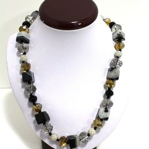 Handmade Natural Black Onyx White Quartz Gemstone